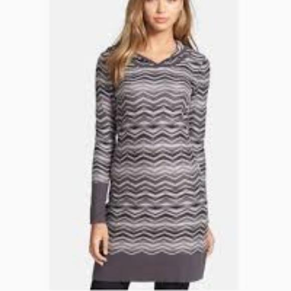 Prana Dresses & Skirts - Prana Gray White Striped Sweater Meryl Dress